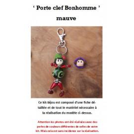 Kit Porte Clef Bonhomme mauve