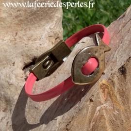 Bracelet cuir corail